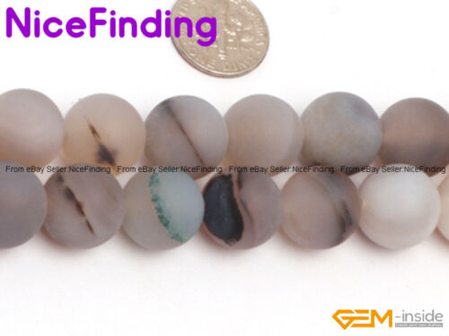 """Natural Round Frost Matte Botswana Agate Gemstone Beads For Jewellery Making 15/"""""""