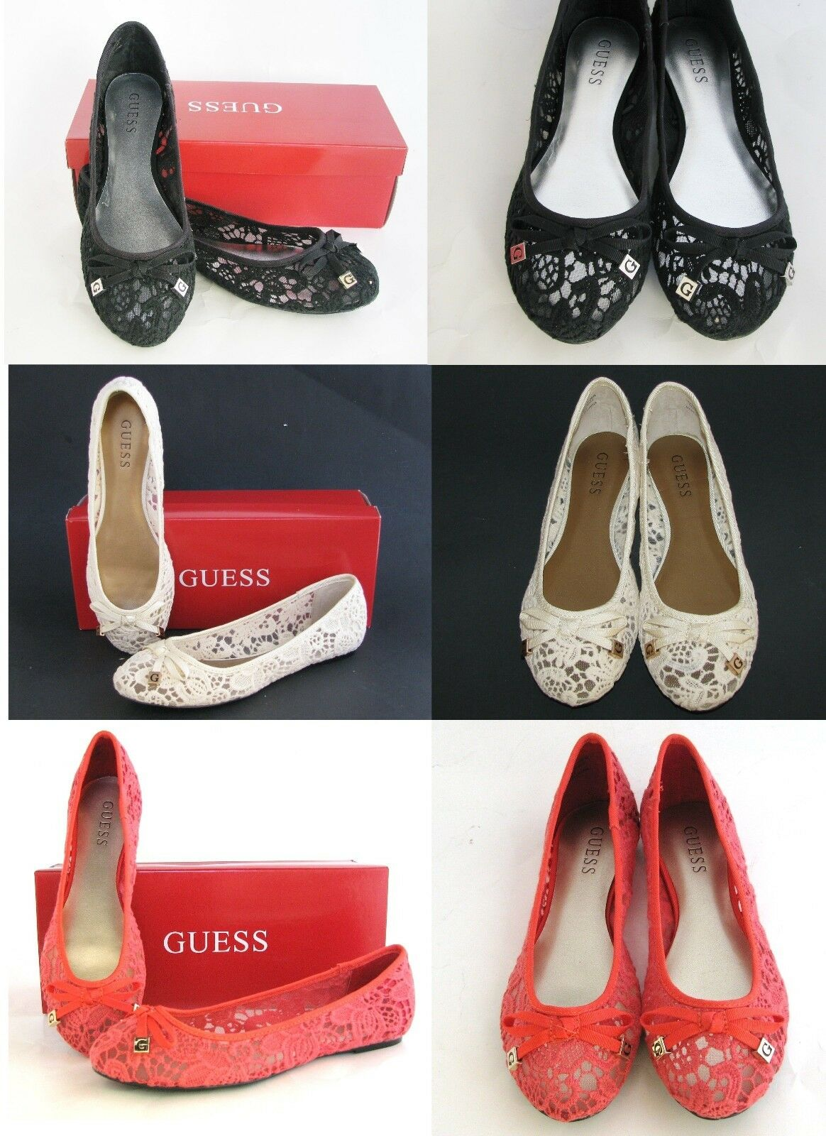 NEW-GUESS GEORGIA MESH CROCHET UPPER & BOW ACCENT,SPRING BALLET FLATS,Schuhe+BOX FLATS,Schuhe+BOX FLATS,Schuhe+BOX 3089f1