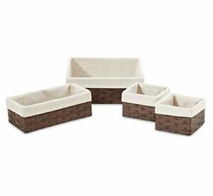 Americanflat Storage Baskets Bins Woven Brown Nesting Set of 4 w/ Linen Liners