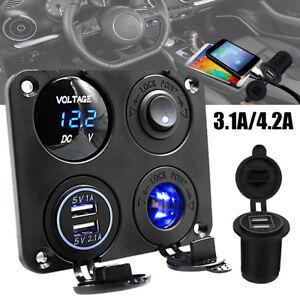 12v-voiture-panneau-commutateur-bateau-allume-cigare-prise-3-1a-chargeur-USB-CP