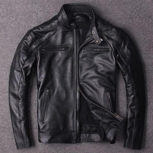 cuir de pour vachette veste moto hommes 100vraie Vestes en classiques WH9DYIE2