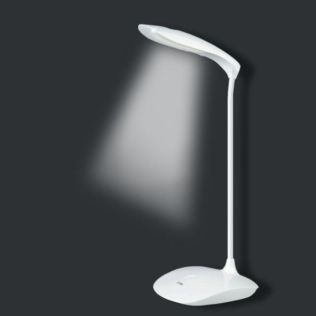 USB Rechargeable Touch Sensor Cordless LED Light Desk Table Reading Lamp-White