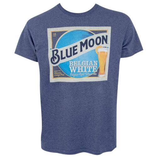 Blue Moon Belgian White Beer Label Men/'s Blue T-Shirt Blue