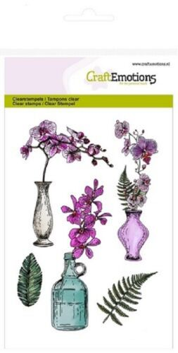 Craft Emotions Cling Clear Stamps A6 ORCHID VASES /& BOTTLE 1242