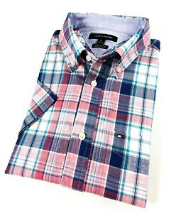 TOMMY-HILFIGER-Shirt-Men-039-s-Short-Sleeve-Chambray-Navy-Pink-Madras-Checks