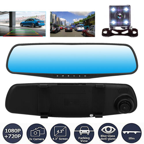 HD 1080P 4.3/'/' TFT LCD Auto DVR Dash Cam Dual Lens Rückspiegel Kamera Recorder#
