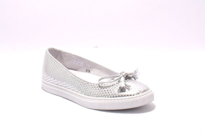 Diego Bellini 5007 Silver Leather Slip-On Bow Loafer shoes 40   US 10