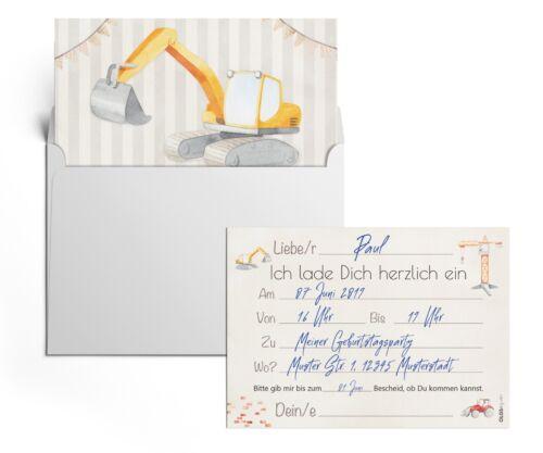 12 Einladungskarten Baustellen Party Kindergeburtstag Geburtstagsparty Umschläge