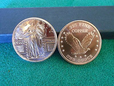 1 - 1oz COPPER COIN/ ROUND - STANDING LIBERTY DESIGN