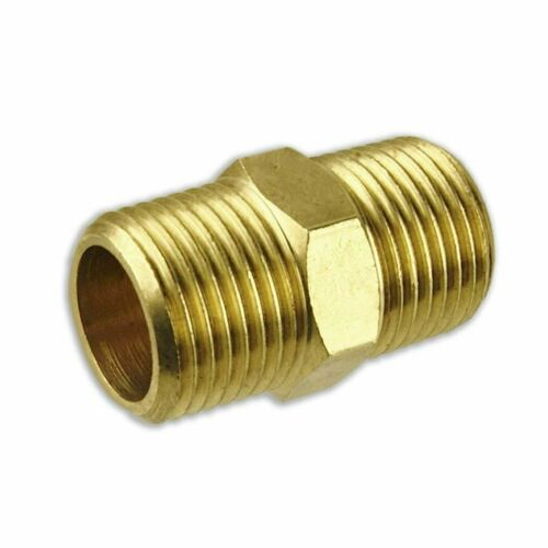 """Solid Brass 3//8/"""" to 3//8/"""" NPT Nipple Pipe Connection"""
