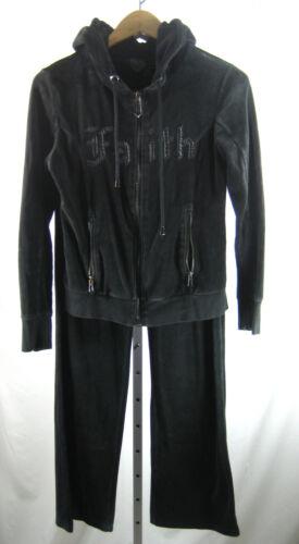 FAITH CONNEXION Black Leather Terry Cloth Sweatsui