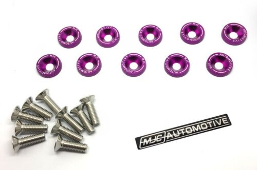 MJC Purple M6 Anodized Aluminium Fender Washer Kit Stainless Steel Bolts 10 Pack