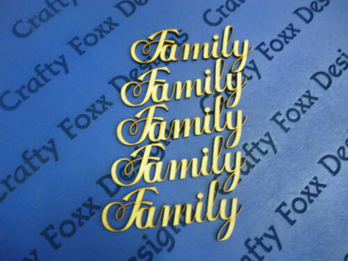 Family Word Cutout 5 pack MDF Laser Cut Wooden Craft Blank Wedding Family Tree