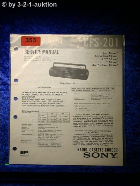 Sony Service Manual Cfs 201 Cassette Corder   0353