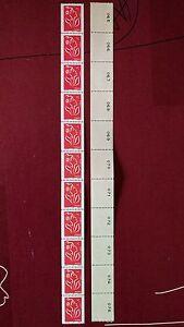 Bande de 11 timbres Marianne de Lamouche roulette avec numéros au dos - France - Type: Timbres Format: Bande - France