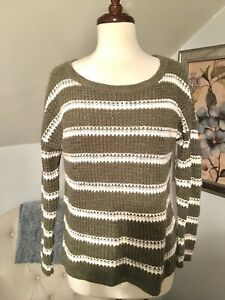 Details about HOLLISTER Pullover Crewneck Green White Striped Cotton Knit Sweater Size Medium