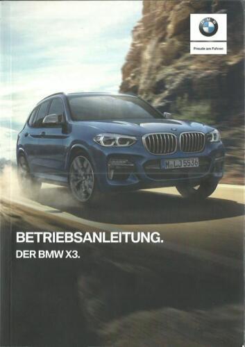 BMW X3 G01 Betriebsanleitung 2018 Bedienungsanleitung M40i ...