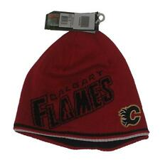 New NHL Calgary Flames Mens Reebok Winter Hat Reversible One Size Beanie Toque