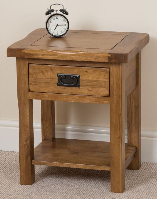 Cotswold Solid Rustic Oak Small Bedside 1 Drawer Lamp Table Bedroom Furniture