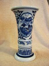 Unique Vintage Porcelain Orchid Flower Vase with PAINTED SILK ORCHIDS