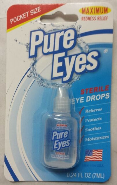 PURE EYES Maximum Redness Relief Pocket Size Sterile Eye Drops 06/2017