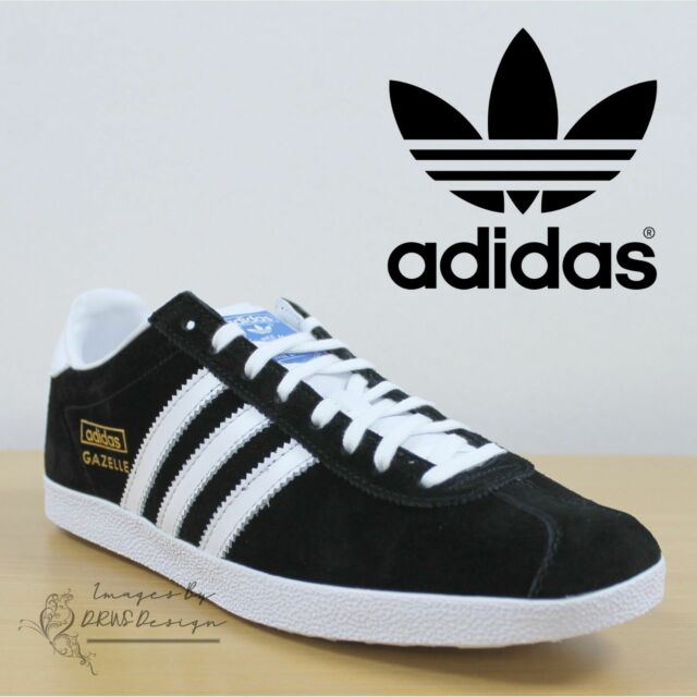 online store f22e6 9161a adidas Originals Gazelle OG Black White Mens Retro Casual Sh