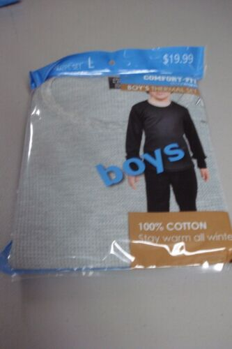 NWT Boy/'s Comfort Fit 2 Piece Thermal Underwear Set Size Large Gray #754J