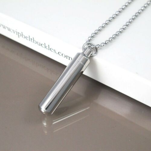 Silver Stainless Steel Army Military Tube Container Pendant Ball Chain Necklace