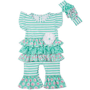 46e0342f1 Boutique Baby Outfit New Toddler Easter Spring Romper ruffle girl