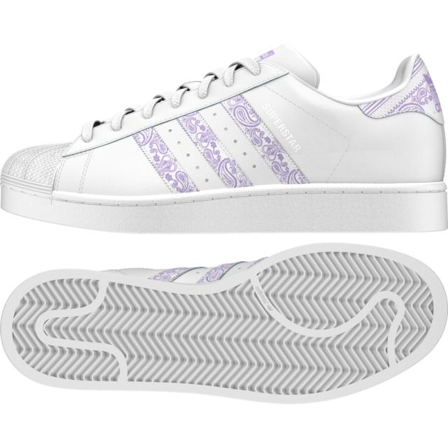 Adidas Superstar WeißLila Glow Herren Leder Sneaker Schuhe