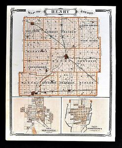 Knightstown Indiana Map.Details About 1876 Indiana Map Henry County New Castle Knightstown Richmond City Plan Wayne