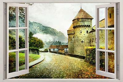 Castle Road Fantasy 3D Window View Decal WALL STICKER Decor Art Mural H60
