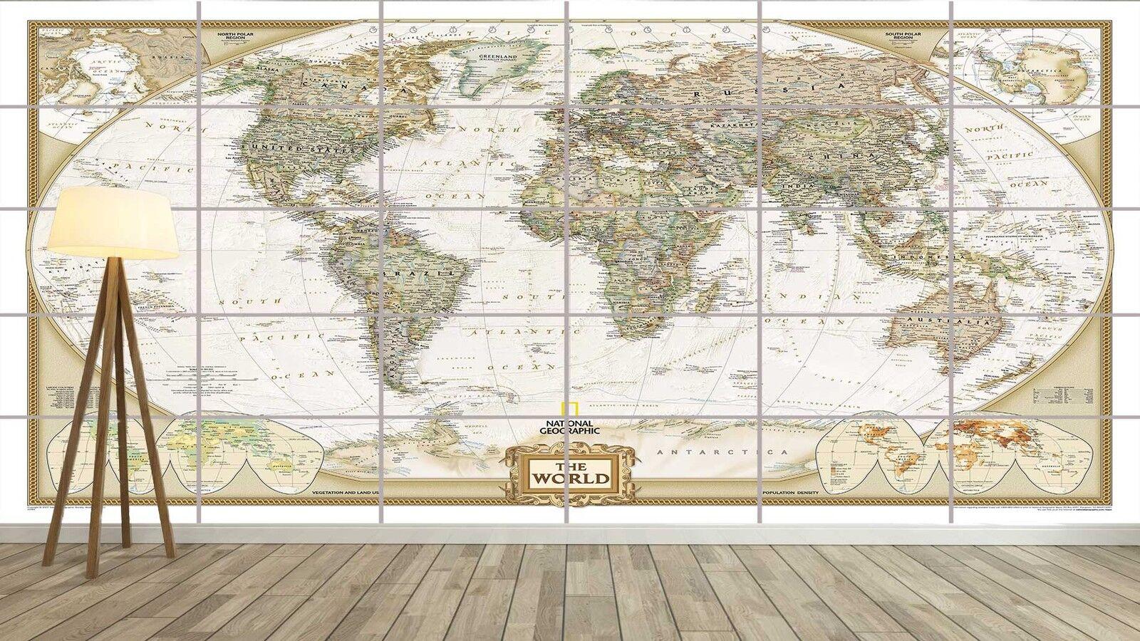 WORLD MAP CARTE DU MONDE Vintage Style XXL Poster Home Deco Salon 252cmX150