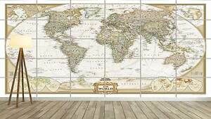 world map carte du monde vintage style xxl poster home deco salon 252cmx150 ebay. Black Bedroom Furniture Sets. Home Design Ideas