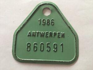 Vintage Belgian Bicycle License Plate 1986.