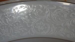 "Fine China Dinner Plates in the Empress pattern by CROWN VICTORIA 4 10"" plates"