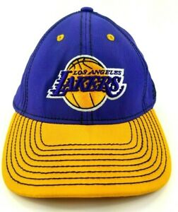 Adidas-Los-Angeles-LA-Lakers-NBA-Fitted-Hat-Cap-S-M-Embroidered-Purple-Yellow