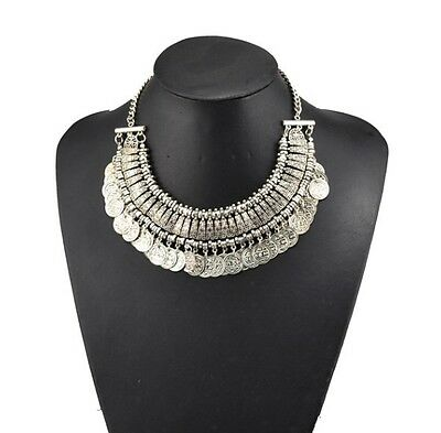 Bohemian Gypsy Turkish Festival Antique Silver/gold Coin Bib Statement Necklace