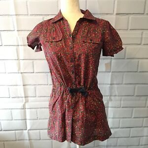 LL-BEAN-Girls-Large-14-16-Floral-Blouse-With-Drawstring-Waist