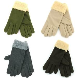 Sherpa-Gloves-Fleece-Sheep-New-Green-Brown-Grey-Black-New