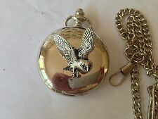 B19 Barn Owl polished silver case mens GIFT quartz pocket watch fob