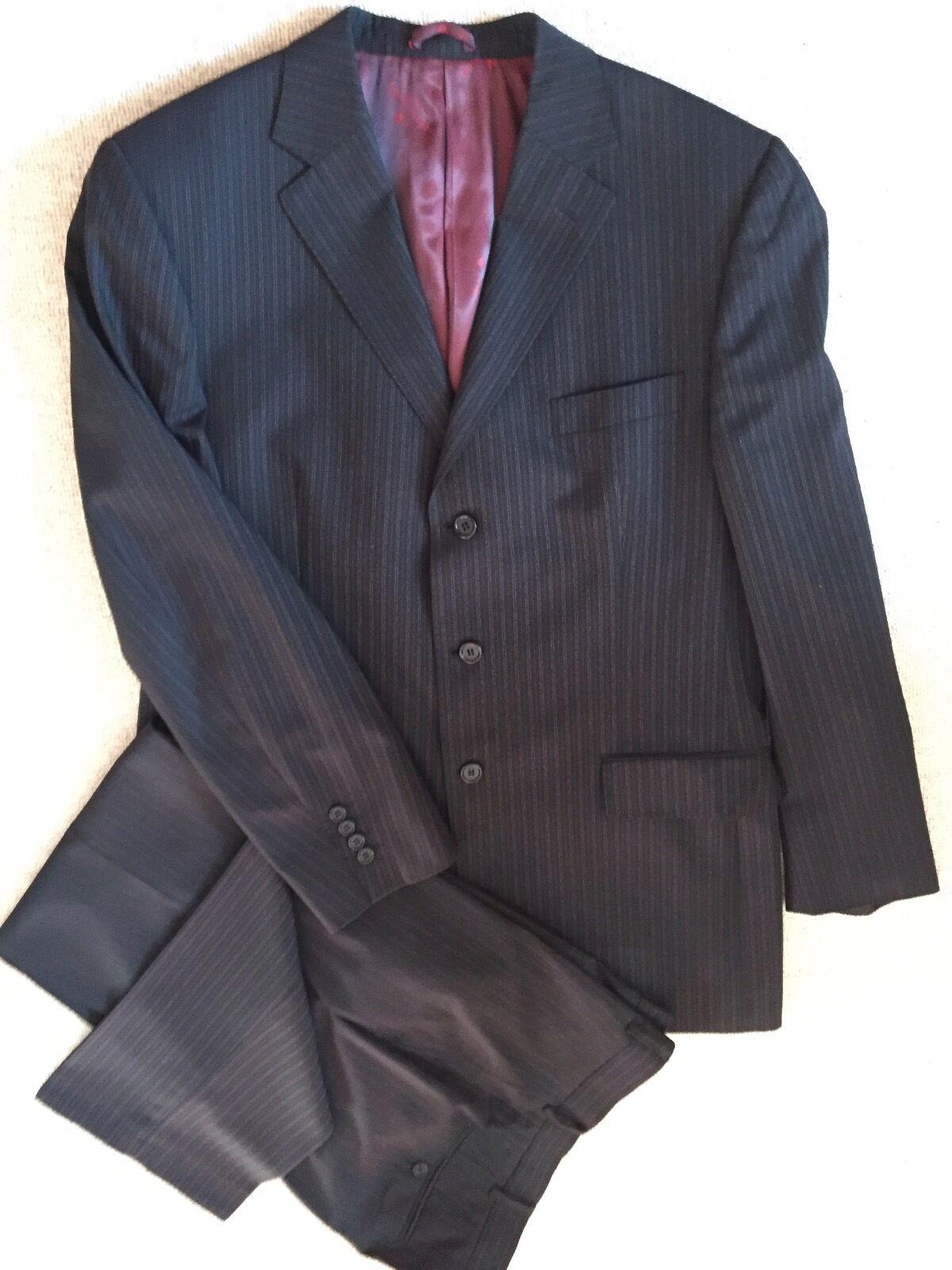 Pierre Cardin eleganter Herren Anzug Gr 50 dunkelgrau mit grau + roten Streifen