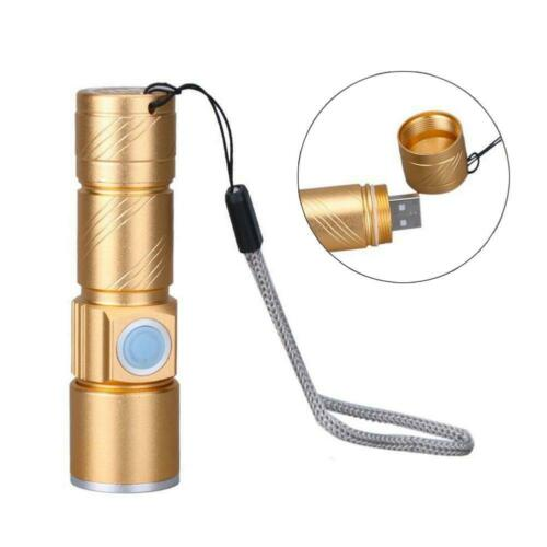 Waterproof Handy Aluminum Alloy Mini LED Flashlight Torch USB Rechargable DI