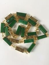 VTG 1970'S CHINESE MING COLLECTION ASIAN JADE TUBE CUT OUT DESIGN NECKLACE HTF!