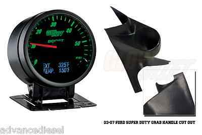 99-02 Ford Super Duty GlowShift 3in1 White EGT,Digital Boost/&Temp Gauge /&Tan Pod
