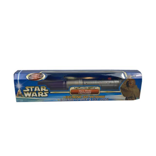 Star Wars The Phantom Menace Mace Windu Electronic Lightsaber Hasbro Nib For Sale Online