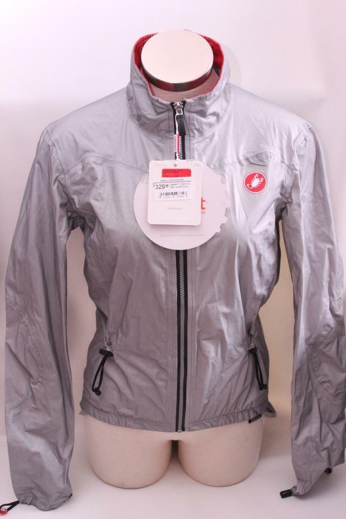 Nueva chaqueta de lluvia Castelli mujer Donnina gris Ciclismo Bicicleta Pequeña Impermeable