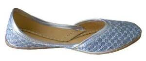 Women-Shoes-Handmade-Jutties-Leather-Silver-Ballerinas-UK-3-5-7-5-EU-36-42