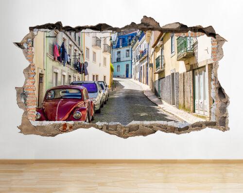 S876 Street Vintage Escarabajo escénico se estrelló la etiqueta de la pared 3D Art Stickers Vinyl Habitación