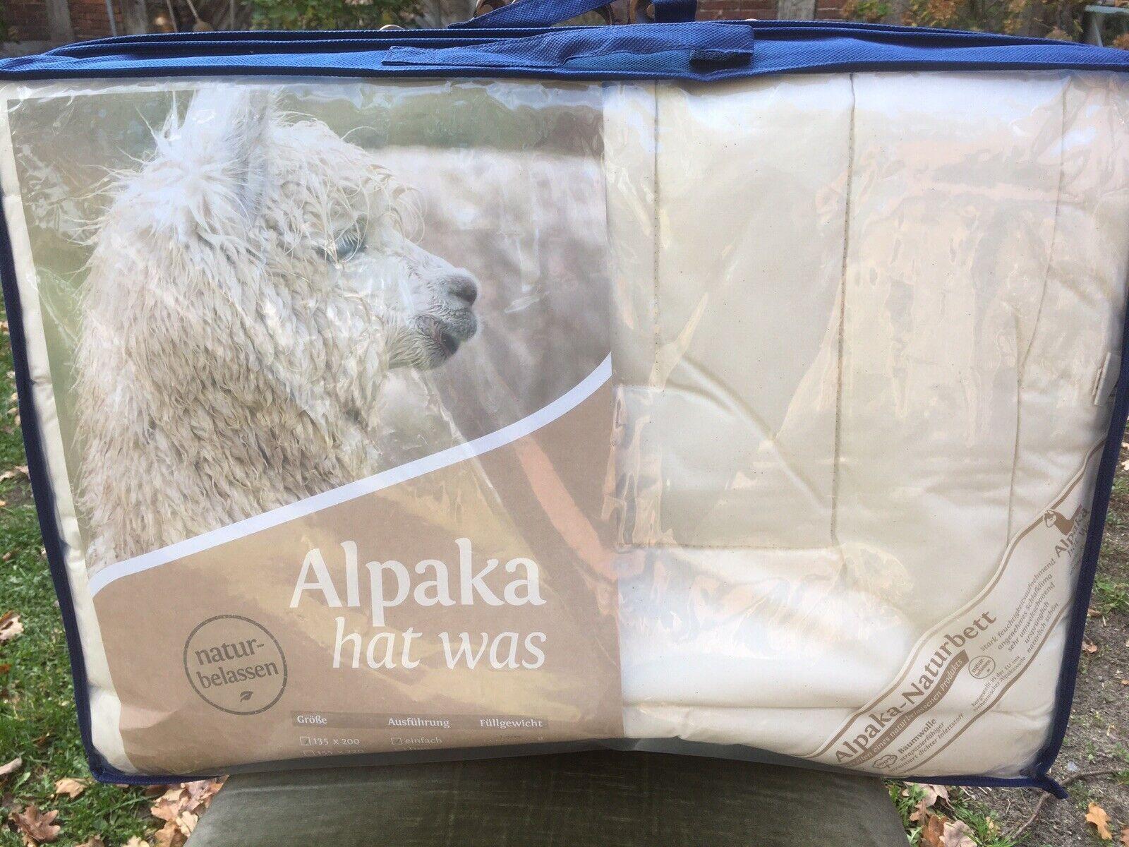 Alpaka Bettdecke 100% Alpakawolle 1100g Alpaka 135x 200 Steppbett Naturbett